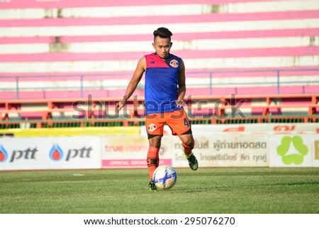 SISAKET THAILAND-JULY 4: Players of Sisaket FC. in action during a training ahead  Thai Premier League between Sisaket FC and Chainat Hornbill FC at Sri Nakhon Lamduan Stadium on July 4,2015,Thailand - stock photo