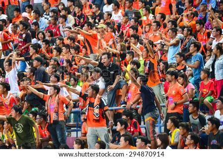 SISAKET THAILAND-JULY 4: Sisaket FC Fans cheer during  Thai Premier League between Sisaket FC and Chainat Hornbill FC at Sri Nakhon Lamduan Stadium on July 4,2015,Thailand - stock photo