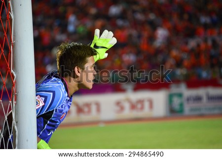 SISAKET THAILAND-JULY 4: Wanlop Sae-jeaw (GK) of Chainat FC. in action during  Thai Premier League between Sisaket FC and Chainat Hornbill FC at Sri Nakhon Lamduan Stadium on July 4,2015,Thailand - stock photo