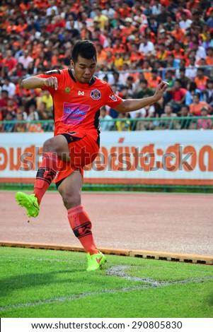 SISAKET THAILAND-JUNE 21: Teerachai Ngamcharoen of Sisaket FC. in action during  Thai Premier League between Sisaket FC and Navy FC at Sri Nakhon Lamduan Stadium on June 21,2015,Thailand - stock photo