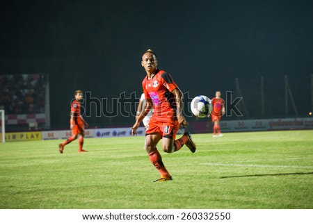 SISAKET THAILAND-MARCH 7: Jirawat Daokhao of Sisaket FC. in action during Thai Premier League between Sisaket FC and Gulf Saraburi FC at Sri Nakhon Lamduan Stadium on March 7,2015,Thailand - stock photo