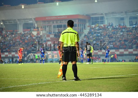 SISAKET THAILAND-MARCH 5: Referee on soccer match during Toyota Thai League between Sisaket FC and Sukhothai FC at Sri Nakhon Lamduan Stadium on March 5,2016,Thailand - stock photo