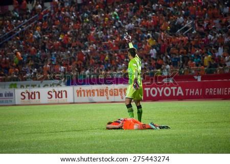 SISAKET THAILAND-MAY 3: Players of Sisaket FC. injured during Thai Premier League between Sisaket FC and Chiang rai united at Sri Nakhon Lamduan Stadium on May 3,2015,Thailand - stock photo