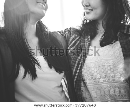 Sister Friendship Affectionate Adorable Outside Concept - stock photo