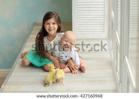 sister in a white shirt and blue skirt hugging baby brother in a white shirt and jeans sitting on the sill of the window, playing with two young chicks - stock photo