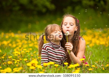 Sisters blowing dandelion seeds away in the meadow. - stock photo
