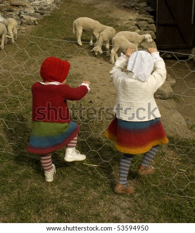 Sisters climbing a fence, looking at the lambs. - stock photo