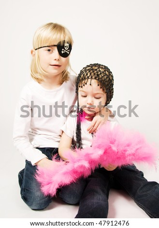Sisters ready for carnival - stock photo