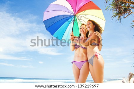 sisters under the umbrella
