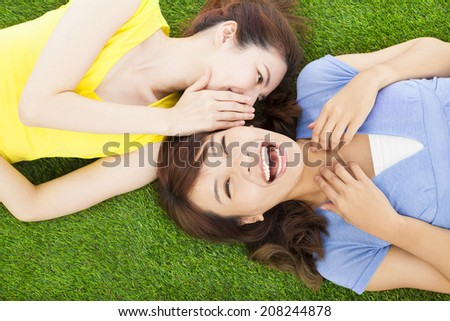 sisters whispering on the meadow and happy expression - stock photo
