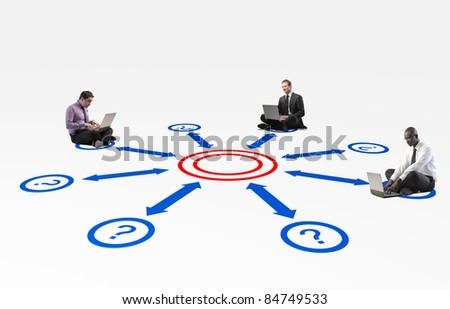 sit business people connect with laptop - stock photo