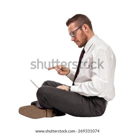 sit caucasian man with notebook - stock photo