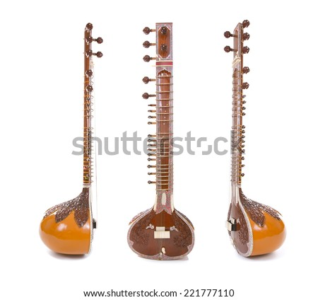 Sitar, a string Traditional Indian musical instrument, isolated on white background - stock photo