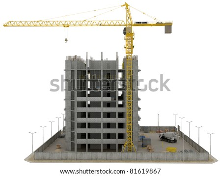 Site area: huge tower crane and unfinished buiding over white