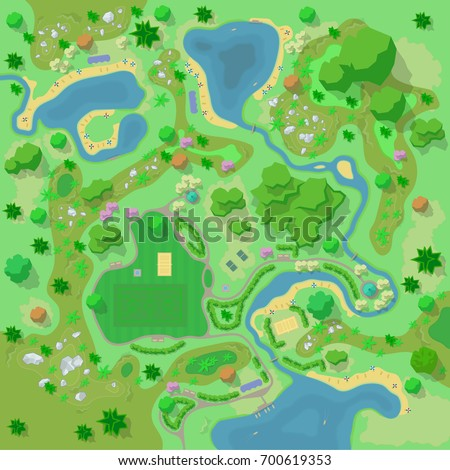 Site improvement landscape tourist camp forest stock illustration site improvement landscape and tourist camp in the forest top view mountains malvernweather Gallery