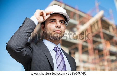 Site manager at work - stock photo