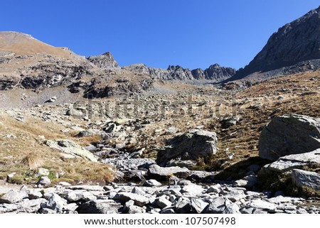 Site of lakes Lestio and Porcierole, park of Queyras, department of the high Alps, France