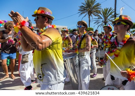 SITGES - JUNY 19, 2016: Pride of the lesbian, gay, bisexual and transgender People in the streets of Sitges, Spain on Juny 19, 2016.