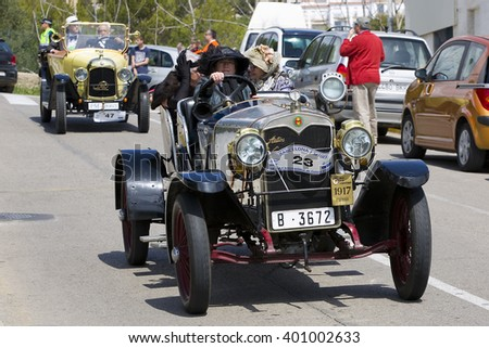 SITGES, SPAIN - APRIL 3: An Autos Espana Torpedo 1917 take part in the 58th Vintage Car Rally of Sitges, on April 3, 2016, in Sitges, Barcelona, Spain.