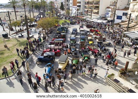 SITGES, SPAIN - APRIL 3: Some cars exposed after the 58th Vintage Car Rally, on April 3, 2016, in Sitges, Barcelona, Spain. - stock photo
