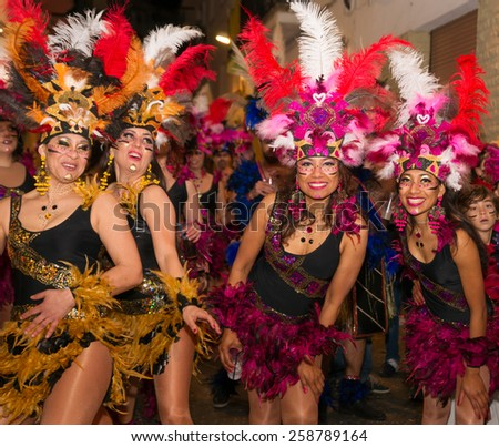 SITGES, SPAIN - FEBRUARY 15, 2015: Sitges Carnival's Carnestoltes, a moment of the 'Disbauxa' Parade celebrated on February 15, 2015 in Sitges, Spain.