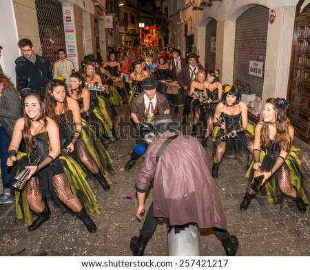 SITGES, SPAIN - FEBRUARY 15, 2015: Sitges Carnival's Carnestoltes, Batucada band add rhythm to the parade celebrated on February 15, 2015 in Sitges, Spain.