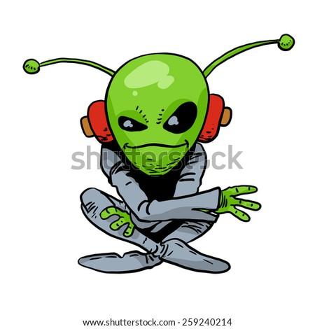 Sitting alien.  - stock photo