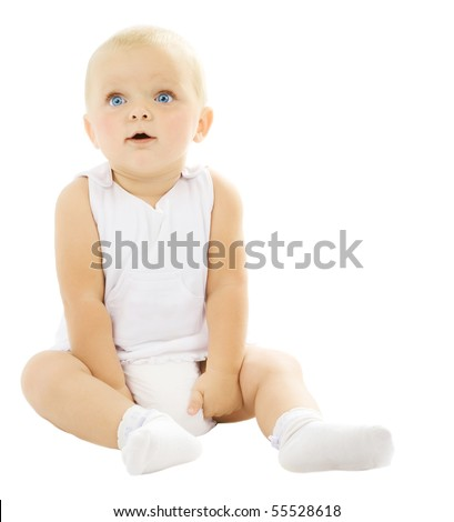 Sitting Baby Girl over white