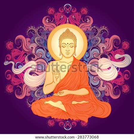 Sitting Buddha over ornate mandala pound pattern. Vector illustration.  - stock photo