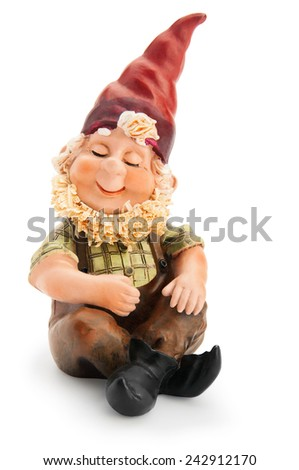 Sitting Gnome isolated with clipping path