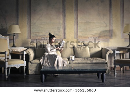 Sitting in the lounge - stock photo
