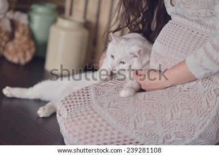 sitting on the floor Pregnant woman in fishnet dress with white cat - stock photo