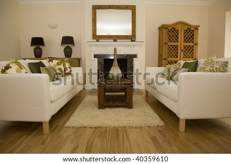 sitting room in a cosy house with two sofas