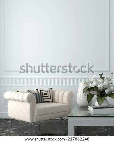 Sitting Room of Luxury Upscale Home with White Walls and Furnishings - stock photo