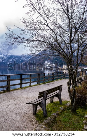 Sitting scenic lake surrounded by mountains, Hallstatt by Salzburg, Austria, Hallstatt is most famous mountain village in Austria and is a Unesco world heritage site. - stock photo