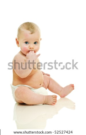 sitting six old baby, he suck him fingers - stock photo
