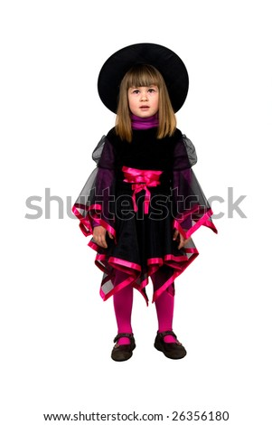 Sitting smile young girl whit carnival suit - stock photo