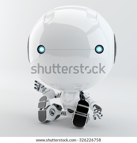 Sitting toddler robot. White controlled little toy resting - stock photo