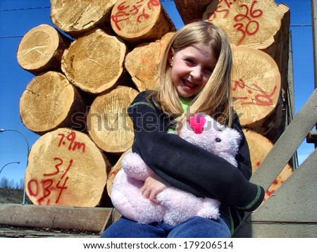 Sitting with stuffy and logs - stock photo