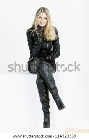 Sitting Woman Wearing Fashionable Black Boots Stock Photo ...