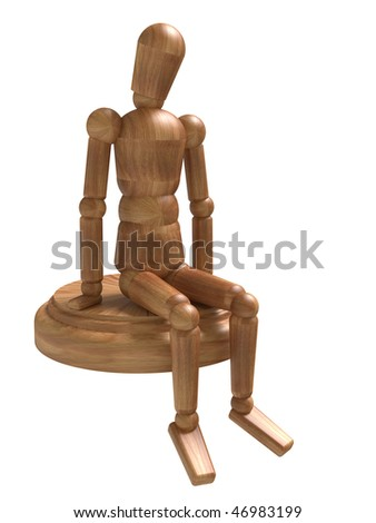 Sitting wooden figure. Isolated on white - stock photo