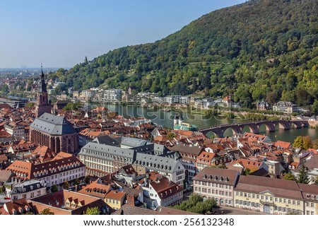 Situated on the banks of the river Neckar, Heidelberg is one of Germanyâ??s most beautiful towns. Top view of the Heidelberg - stock photo