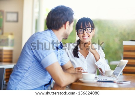 situation in office (focus on the eyes of woman) - stock photo