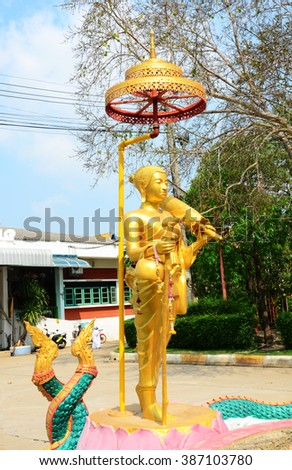 Sivali or Sivalee buddha statue is an arhat widely venerated among Theravada Buddhists. He is the guardian saint of travel and is believed to ward off misfortunes at home such as fire or theft. - stock photo