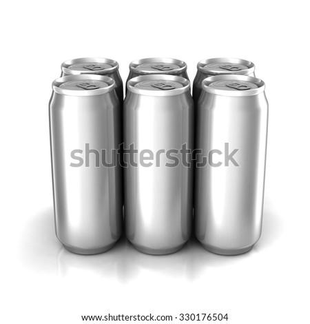 Six aluminum cans - stock photo