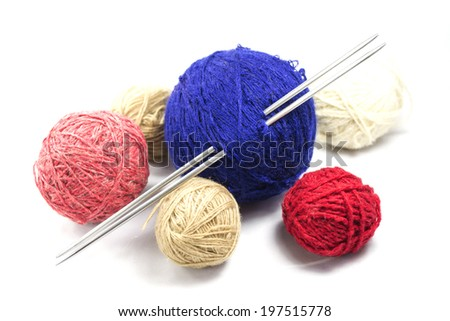 Six ball of twine with spokes on a white background - stock photo
