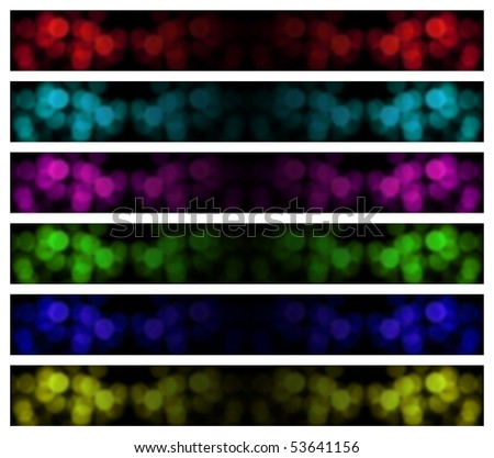 six banners with different color tones. dominant color black. white background for easy clipping - stock photo