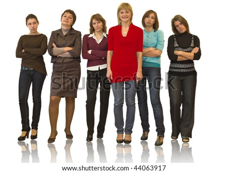 Six beautiful models a women stand on white background in studio. Full-length portrait. Isolated over white
