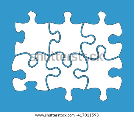 Six blank jigsaw pieces on blue background