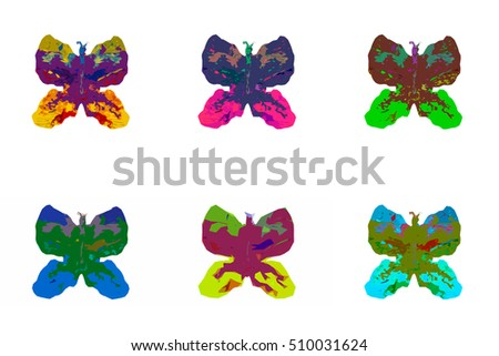 six bright color butterflies on a white background, abstraction